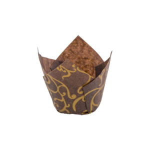 132/50 Brown w/ Gold Scroll Tulip Baking Cup
