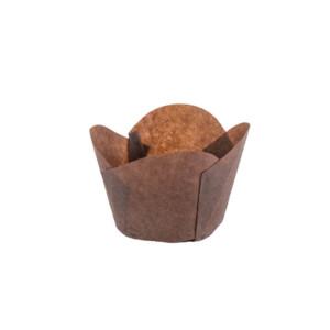 120/50 Brown Round Tip Tulip Baking Cup